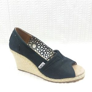 Toms | Black Canvas Peep Toe Wedge Espadrille 6.5